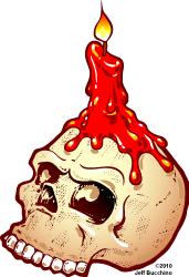 cartoon skull with candle