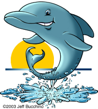 cartoon dolphin jumping out of water