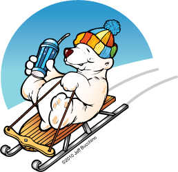 cartoon bear riding a sled